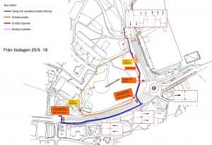Bild översikt trafikomläggning gång och cykelbana